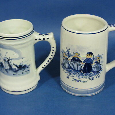 f348: SET OF 2 DELFT BLUE STEINS 5 inches