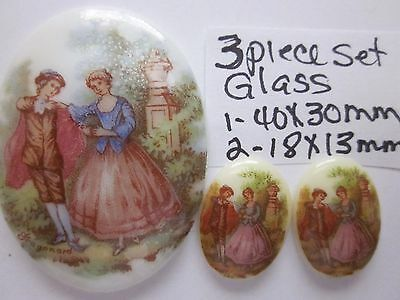 GLASS LIMOGE CAMEOS SET VTG LOT 30X40mm 13x18mm VICTORIAN CABOCHONS JEWELRY NOS