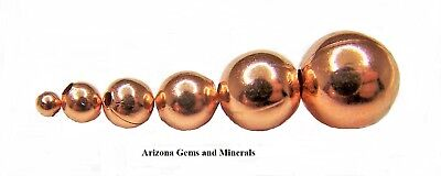 Real Copper Round Beads 2mm-3mm-4mm-5mm-6mm-8mm-9.5mm