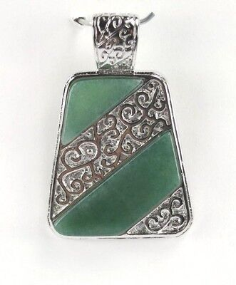 P+0884 Handcrafted Pendant 33x51 mm Tapered natural Green Jade Pendant 18K wgp