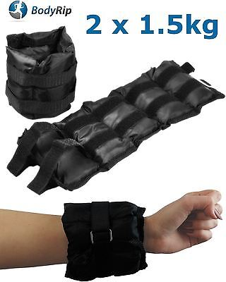 BODYRIP 2 x 1.5kg WRIST ANKLE WEIGHTS WRAPS STRAPS ADJUSTABLE SANDBAG GYM