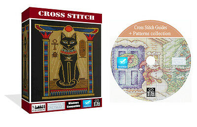 Cross Stitch Patterns Collection Over 2200  Guides On DVD disk For PC or MAC