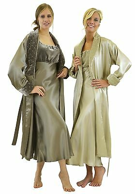 100% Silk Charmeuse Long Robe - Silk Velvet Shawl Collar - Fully lined with Silk