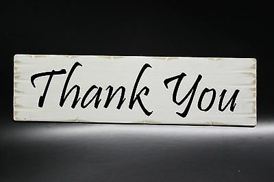 Wedding Thank You Sign - Rustic White Shabby Chic, Choice of Colours Photo Prop