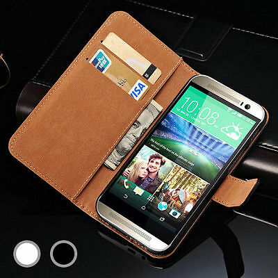 Luxury Genuine Real Leather Wallet Case Cover for HTC One M7, M8 and M9