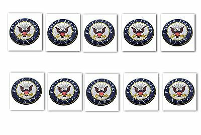 10 Premium USN Navy Automotive Grade Glossy Domed Decal Sticker Emblems 7/8 inch