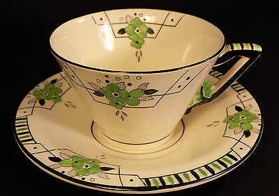 LOVELY STYLISH ART DECO BURLEIGH WARE CUP AND SAUCER BIARRITZ DESIGN IN GREEN