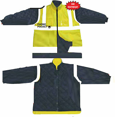 Hi Visibility Reversible Body Warmer Reversible Detachable Sleeve Yellow S - 5XL
