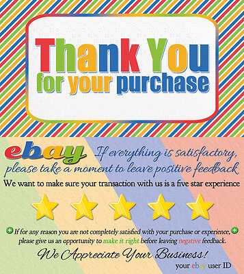 1000 CUSTOM ebay Seller THANK YOU COLORFUL Business Cards 5 FIVE STAR Rating NEW