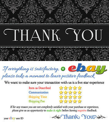 1000 CUSTOM ebay Seller THANK YOU Business Cards ELEGANT 5 FIVE STAR Rating NEW