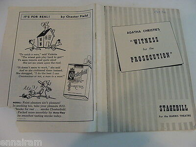1951 Chicago playbill  Witness for the Prosecution Agatha Christie