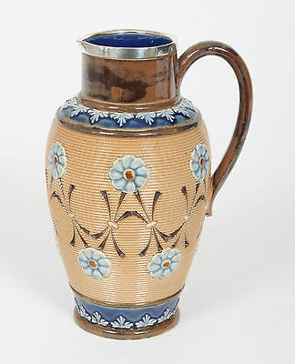 A Doulton Lambeth Stoneware Jug with Solid Silver Rim - Antique H'mark 1896