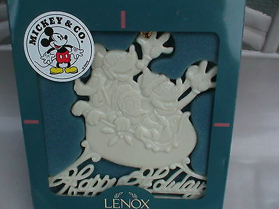 Lenox Disney Mickey Minnie Donald Pluto Happy Holiday Christmas Sleigh Ornament