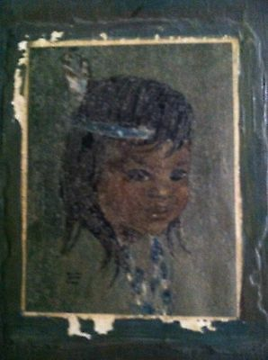 """Vintage Audrey Young Oppel """"little Indians Of Canada"""" Original Pastel"""