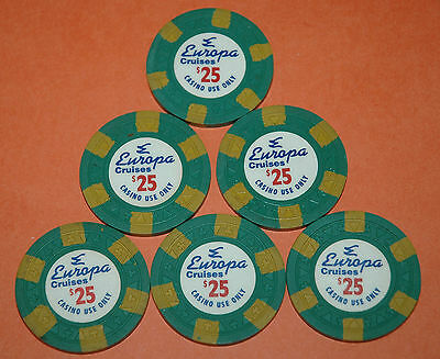EUROPA CRUISES, LOT OF SIX, $25 CASINO CHIPS, OBSOLETE CRUISE LINE, VERY NICE