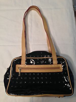 ARCADIA Black Patent Leather & Tan Leather Trim Shoulder Bag Purse Made in Italy