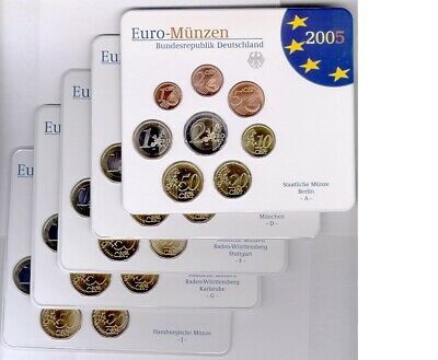 Germania 2005 (a - J ) - 5 Ufficiale (Bu ) Euro Moneta Set