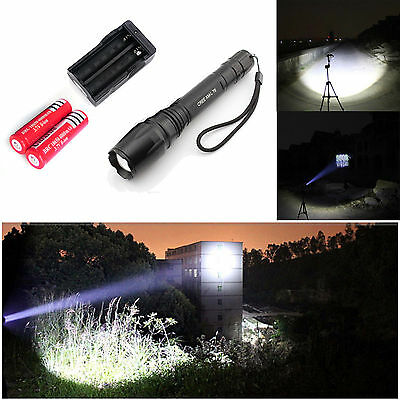 Zoomable Bright 2000LM Cree XML T6 Led Flashlight + Battery + Charger Fast Ship