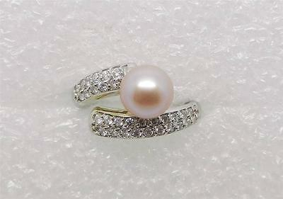 14K White Gold Vintage 7Mm Peach Pearl And Diamond Ring - Size 5.75  -  Lb2232
