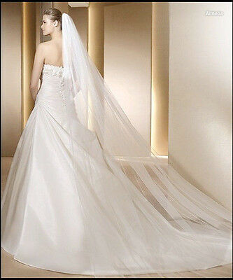 Clearance!!! 1T 3M WEDDING VEIL  (9 FT LONG) - WHITE OR IVORY