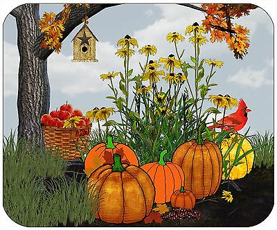 Mouse Pad Custom Thick Mousepad-Pumpkins & Sunflowers-Personalize With Any Text