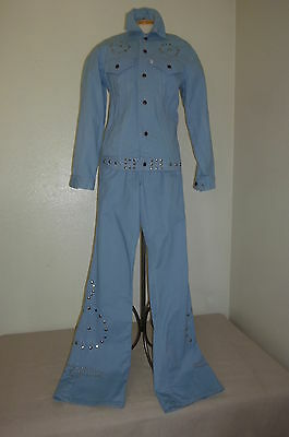 1970s Levi's Mens Baby Blue Elvis Suit with Metal Studded Eagle