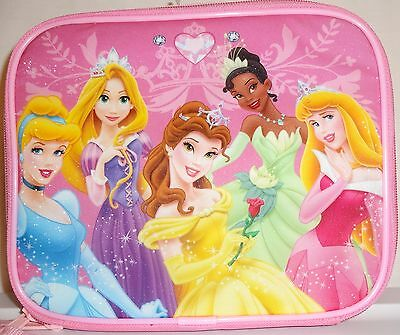 """PINK PRINCESS INSULATED LUNCH BOX SILVER INSIDE 9.5"""" WIDE, 8"""" TALL, 3.5"""" WIDE"""