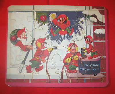 "Vintage Christmas Elf Tray Puzzel ""Glass Frosted While You Wait"" 8 1/2 x 10 1/2"""