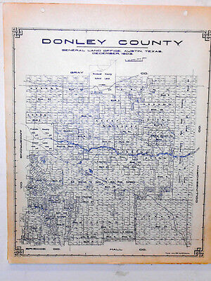 Old Donley County Texas Land Office Owner Map Clarendon Howardwick Hedley Lelia