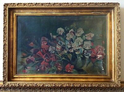19th Century 200 Yrs Old Antique Still Life Oil Painting Gilded Frame for Repair