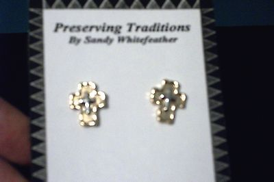 Small Silver & Gold Cross Earrings Two-tone. by Whitefeather Studios
