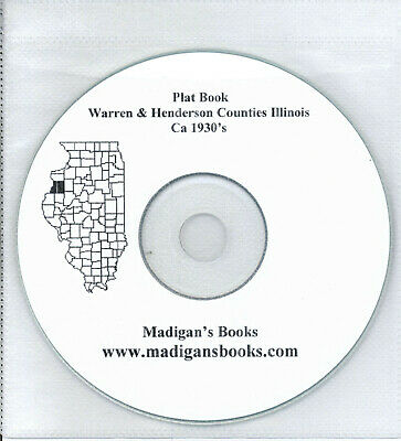 Warren & Henderson Co Illinois IL plat book genealogy  history land owners CD