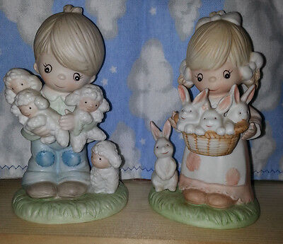 HomCo Collectible Porcelain Figurines #1444 Boy with lambs & Girl with rabbits