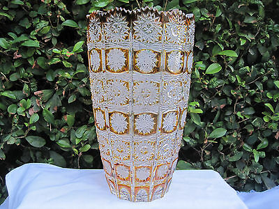 """Vintage Bohemia Hand Cut Queen Lace Amber Crystal Round Vase 10"""" Mint"""