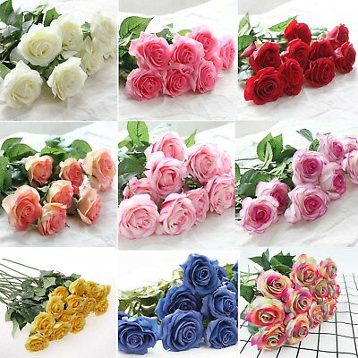 Wholesale Real Latex Touch Gem Rose Flowers Bouquet For wedding And Home Decor
