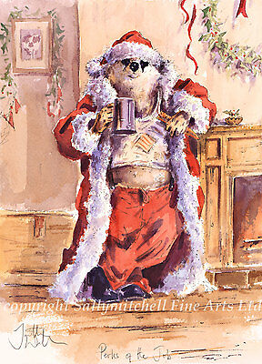 Funny Badger Christmas cards pack of 10.C346x PERKS OF THE JOB