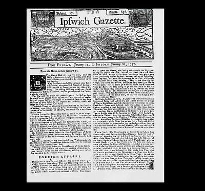 Dollshouse Miniature Newspaper - 1737  Ipswich Gazette