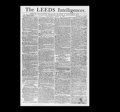 Dollshouse Miniature Newspaper - 1780 Leeds Intelligencer