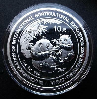 China 2006 Silver 1 Oz Panda Coin with added Words - Shenyang Horticultural Expo