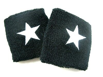 2xWHITE STAR ELASTIC WRIST BAND SUPPORT PROTECTIVE SWEAT COOL SPORT GOODS #S02