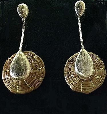 Handmade Earrings with golden grass circle handle by Gold beam Eco-Friendly
