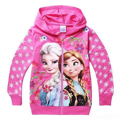 Frozen Girls Jumper Zip Hoodie Jacket Pink
