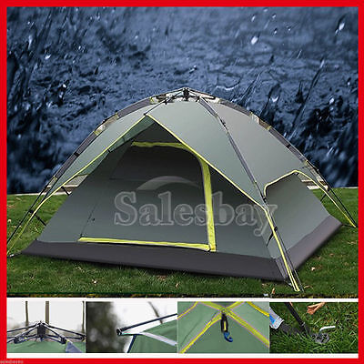 Auto Pop Up Large Camping Tent Upto 4 Person Outdoor Waterproof Green Shelter