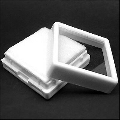 """1pack ( 24 pieces) White Plastic Box For Put Gems Showcase Of Size 1.47"""""""