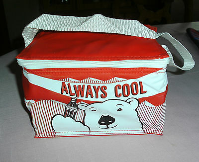 RARE COCA COLA LUNCH BAG,INSULATED,NEW,RED/WHITE,POLAR BEAR,BOTTLE,CHINA,L@@K!!!