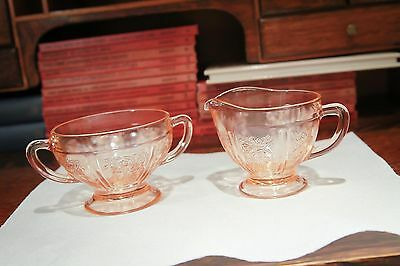 Federal Glass Co. Pink Depression Glass Sharon Cabbage Rose Sugar and Creamer