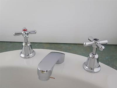 Vanity/hand basin taps with easy clean handles and spout, chromed brass, Ramtaps