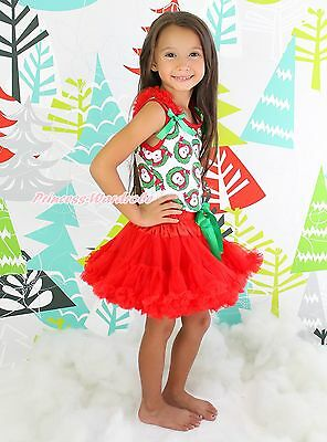 XMAS Christmas Santa Claus Pettitop Red Pettiskirt Baby Girl Outfit Set NB-8Year