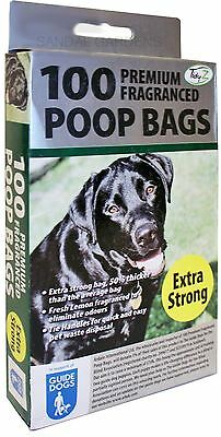 Doggy Poop Waste Bags - Pack 100 Premium Fragranced Extra Strong