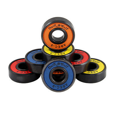 Set of Dark Wolf Skateboard Bearings ABEC Multi Color 8pcs with 4pcs Spacers New